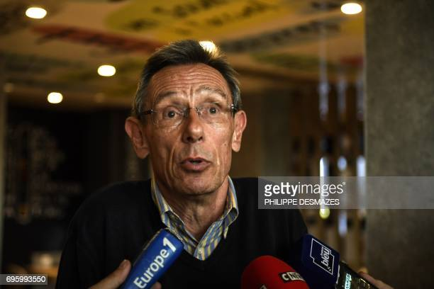 Thierry Moser, French lawyer of Gregory's parents, answers journalistes in Dijon, on June 14 after members of Villemin's family were questioned or...