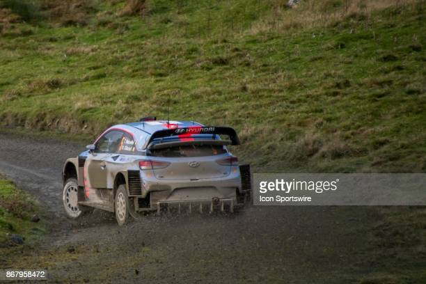 Thierry Neuville and codriver Nicolas Gilsoul of Hyundai Motorsport compete during the Lake Brenig stage of the Rally GB round of the 2017 FIA World...