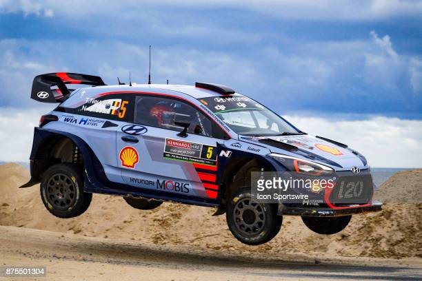 Thierry Neuville and codriver Nicolas Gilsoul of Hyundai Motorsport gets some air on a jump during Super Special Stage the Rally Australia round of...