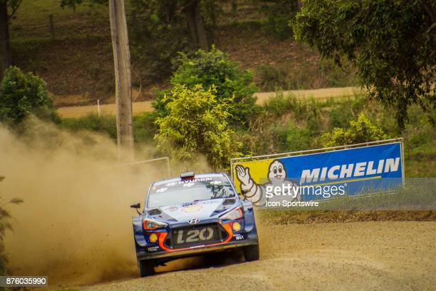Thierry Neuville and codriver Nicolas Gilsoul of Hyundai Motorsport compete in the Argents section on day two of the Rally Australia round of the...