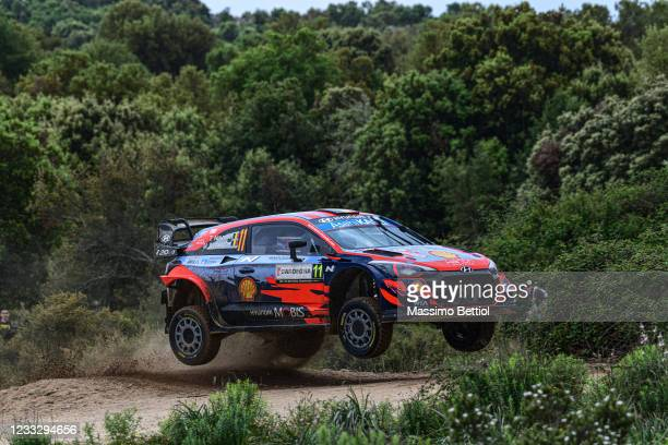 Thierry Neuville and Martijn Wydaeghe of Belgium compete with their Hyundai Shell Mobis WRT Hyundai i20 Coupe WRC during Day Two of the FIA World...