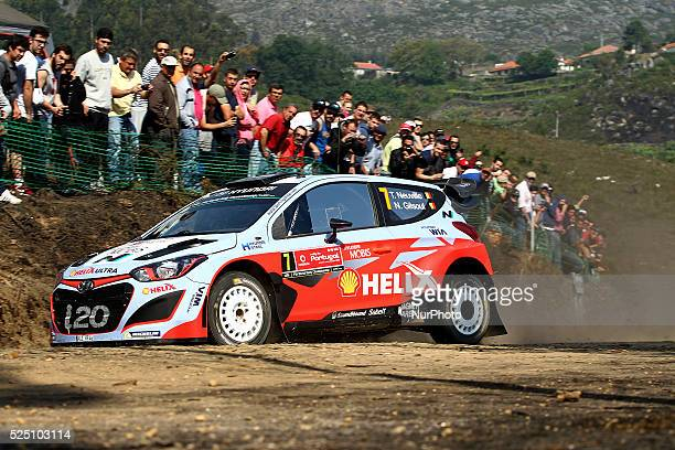 Thierry Neuville and Nicolas Gilsoul in Hyundai i20WRC of team Hyundai Motorsport in action during the SS2 Ponte de Lima of WRC Vodafone Rally...