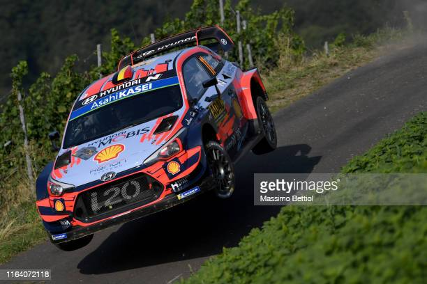 Thierry Neuville and Nicolas Gilsoul of Belgium compete with their Hyundai Shell Mobis WRT Hyundai i20 Coupe WRC during Day Three of the FIA World...