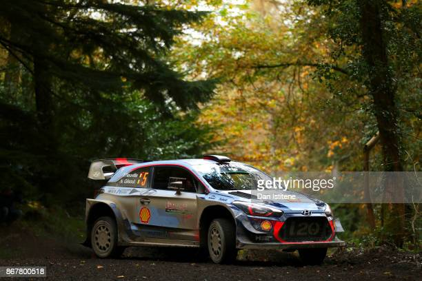 Thierry Neuville of Belgium and Hyundai Motorsport drives with codriver Nicolas Gilsout of Belgium during day three of the FIA World Rally...