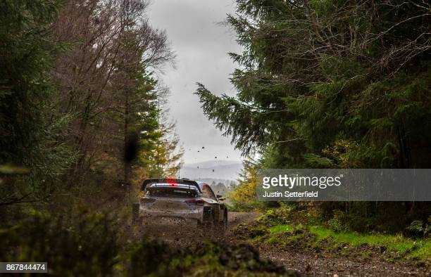 Thierry Neuville of Belgium and Hyundai Motorsport drives with codriver Nicolas Gilsout of Belgium during the Gwydir stage of the FIA World Rally...