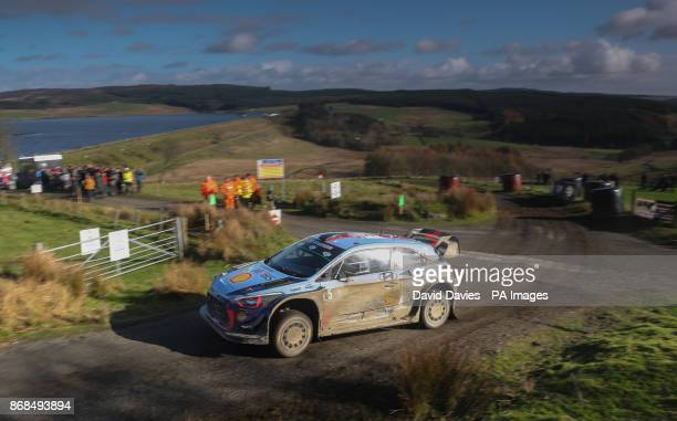 Thierry Neuville of Belgium and Hyundai Motorsport drives with codriver Nicolas Gilsout of Belgium during day four of the Dayinsure Wales Rally GB...