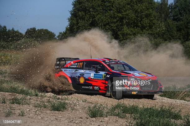 Thierry Neuville of Belgium and Martjin Wydaeghe of Belgium compete with their Hyundai Shell Mobis WRT Hyundai i20 Coupe WRC during Day Three of the...