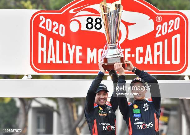 Thierry Neuville of Belgium and Nicolas Gilsoul of Belgium are celebrating their victory in the final podium in Monaco during Day Three of the FIA...