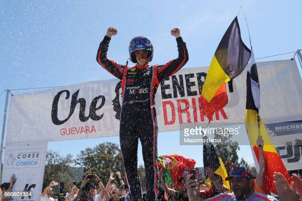 Thierry Neuville of Belgium and Nicolas Gilsoul of Belgium celebrate their victory during Day Three of the WRC France on April 9 2017 in Ajaccio...