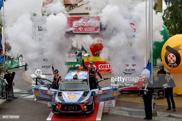 Thierry Neuville of Belgium and Nicolas Gilsoul of Belgium celebrate their victory during Day Three of the WRC Poland on July 2 2017 in Mikolajki...