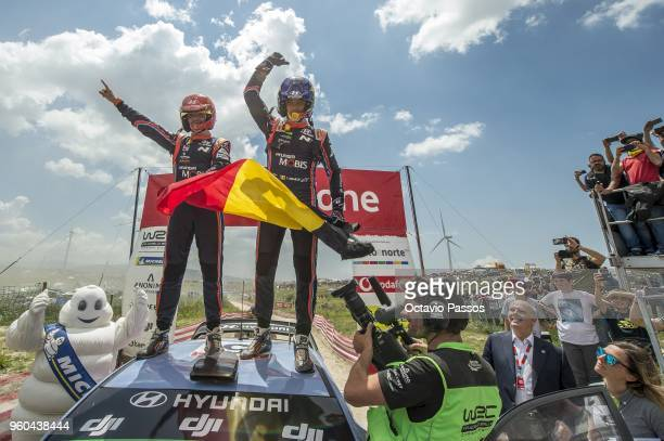 Thierry Neuville of Belgium and Nicolas Gilsoul of Belgium celebrate victory at the end of the SS20 Fafe Power Stage of the WRC Portugal on May 20...