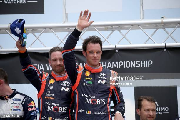 Thierry Neuville of Belgium and Nicolas Gilsoul of Belgium celebrate their victory during Day Four of the WRC Portugal on May 20 2018 in Fafe Portugal