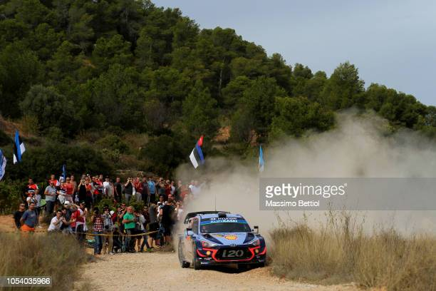 Thierry Neuville of Belgium and Nicolas Gilsoul of Belgium compete in their Hyundai Shell Mobis WRT Hyundai i20 Coupe WRC during Day Two of the WRC...
