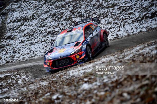 Thierry Neuville of Belgium and Nicolas Gilsoul of Belgium compete in their Hyundai Shell Mobis WRT Hyundai I20 WRC during Day Two of the WRC...