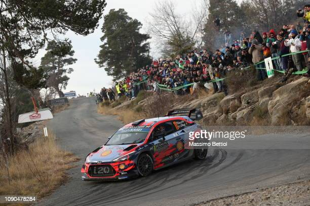Thierry Neuville of Belgium and Nicolas Gilsoul of Belgium compete in their Hyundai Shell Mobis WRT Hyundai I20 WRC during Day Three of the WRC...