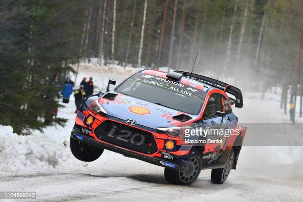 Thierry Neuville of Belgium and Nicolas Gilsoul of Belgium compete in their Hyundai Shell Mobis WRT Hyundai i20 Coupe WRC during the Shakedown of the...
