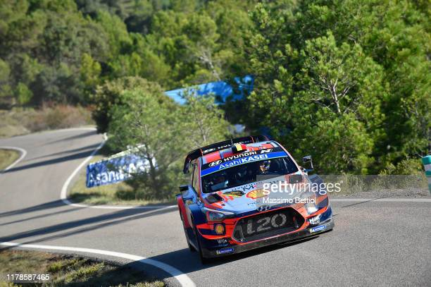 Thierry Neuville of Belgium and Nicolas Gilsoul of Belgium compete in their Hyundai Shell Mobis WRT Hyundai i20 Coupe WRC during Day Three of the FIA...