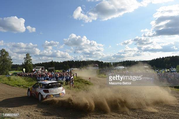 Thierry Neuville of Belgium and Nicolas Gilsoul of Belgium compete in their Citroen Junior Team Citroen DS3 WRC during Day 3 of the WRC Rally Finland...