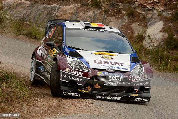 Thierry Neuville of Belgium and Nicolas Gilsoul of Belgium compete in their Qatar WRT Ford Fiesta RS WRC during Day Two of the WRC Spain on October...