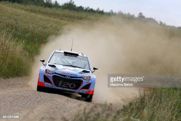 Thierry Neuville of Belgium and Nicolas Gilsoul of Belgium compete in their Hyundai Motorsport Hyundai i20 WRC during the Shakedown of the WRC Poland...