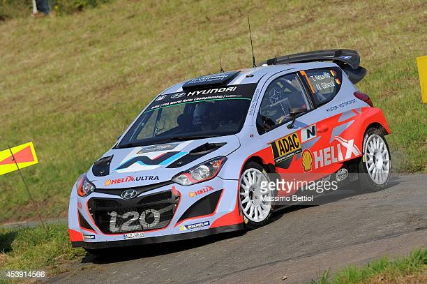 Thierry Neuville of Belgium and Nicolas Gilsoul of Belgium compete in their Hyundai Motorsport Hyundai I20 WRC during the Sakedown of the WRC Germany...