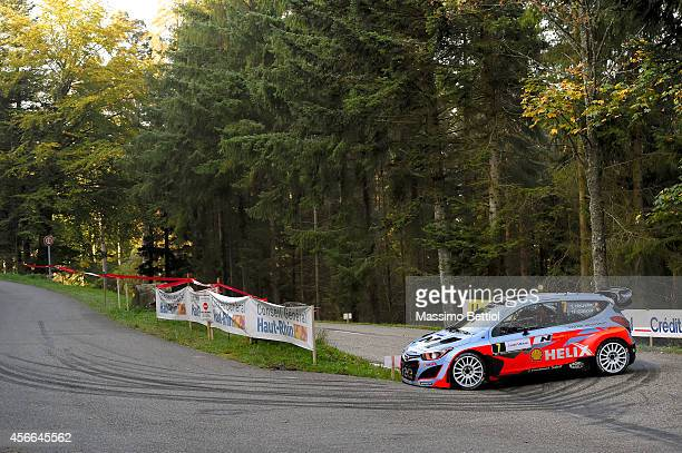 STRASBOURG FRANCE OCTOBER Thierry Neuville of Belgium and Nicolas Gilsoul of Belgium compete in their Hyundai Motorsport Hyundai I20 WRC during Day...