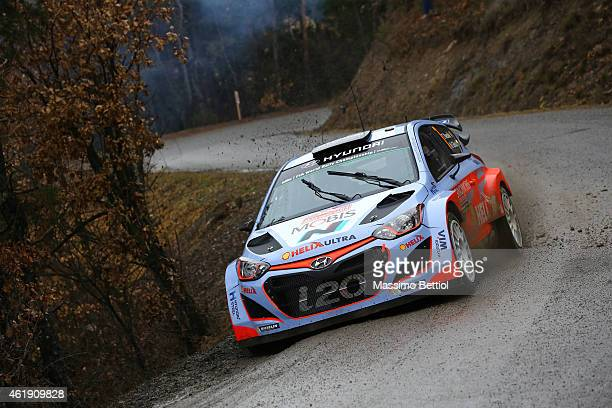 Thierry Neuville of Belgium and Nicolas Gilsoul of Belgium compete in their Hyundai Motorsport Hyundai i20 WRC during the Shakedown of the WRC...