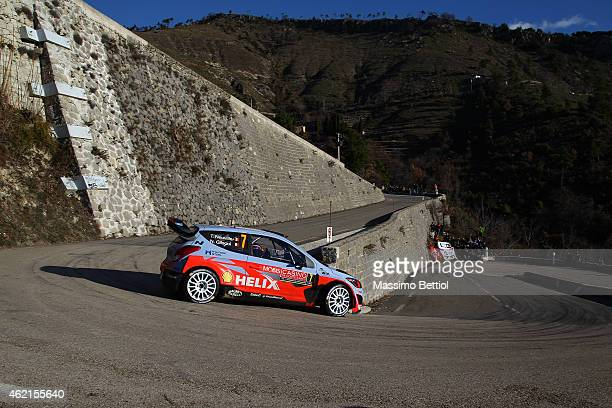 Thierry Neuville of Belgium and Nicolas Gilsoul of Belgium compete in their Hyundai Motorsport Hyundai i20 WRC during Day Four of the WRC Montecarlo...