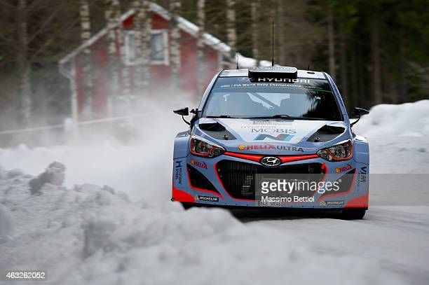 Thierry Neuville of Belgium and Nicolas Gilsoul of Belgium compete in their Hyundai Motorsport Hyundai i20 WRC during the Shakedown of the WRC Sweden...