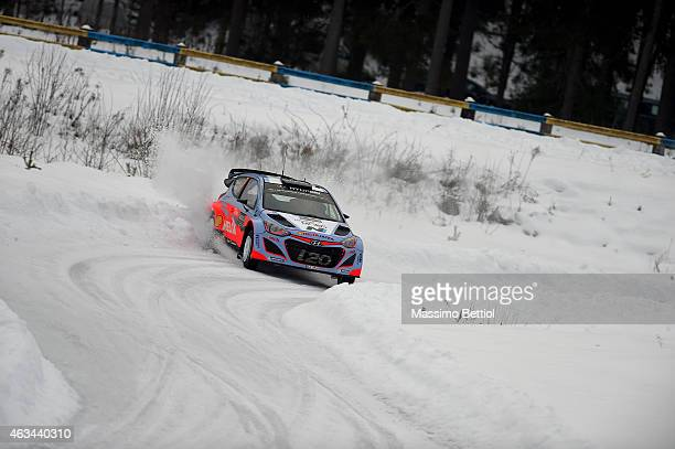Thierry Neuville of Belgium and Nicolas Gilsoul of Belgium compete in their Hyundai Motorsport Hyundai i20 WRC during Day Two of the WRC Sweden on...