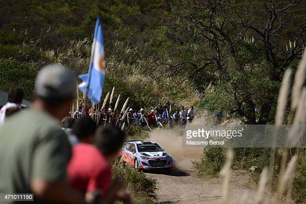 Thierry Neuville of Belgium and Nicolas Gilsoul of Belgium compete in their Hyundai Motorsport Hyundai i20 WRC during Day Two of the WRC Argentina on...