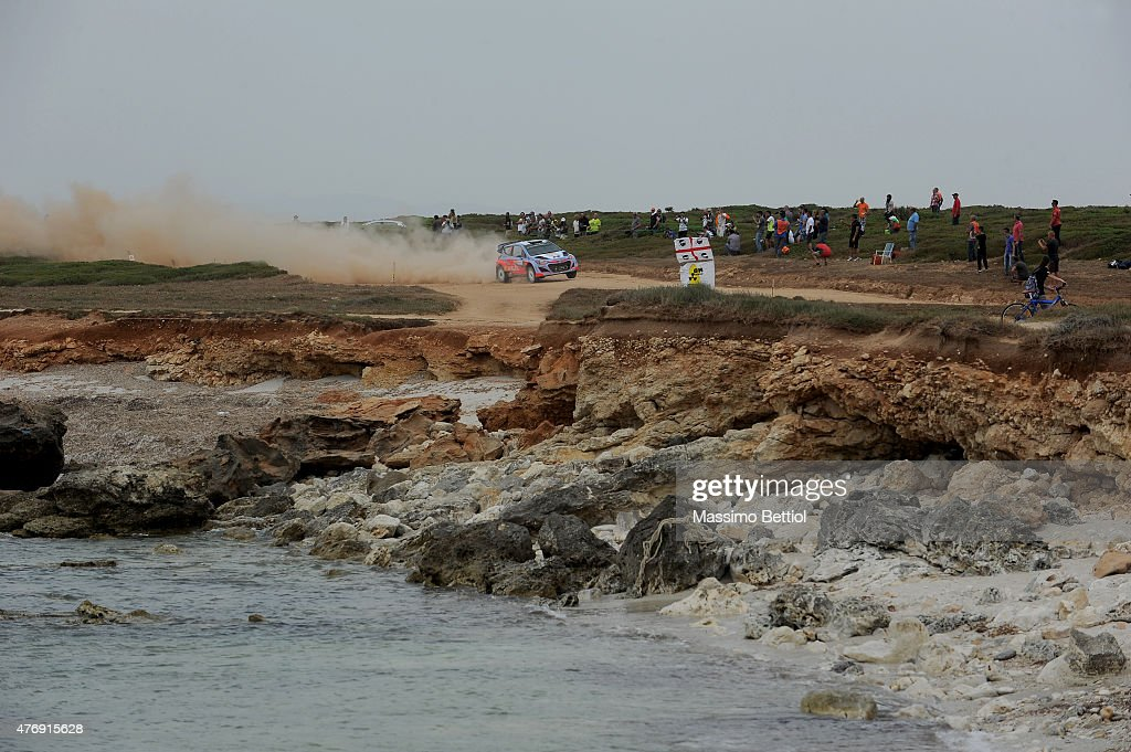 Thierry Neuville of Belgium and Nicolas Gilsoul of Belgium compete in their Hyundai Motorsport WRT Hyundai i20 WRC during Day One of the WRC Italia Sardinia on June 12, 2015 in Alghero, Italy.
