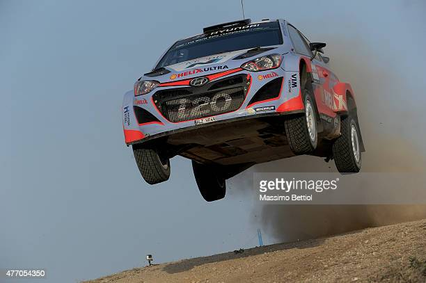 Thierry Neuville of Belgium and Nicolas Gilsoul of Belgium compete in their Hyundai Motorsport Hyundai i20 WRC during Day Two of the WRC Italy on...