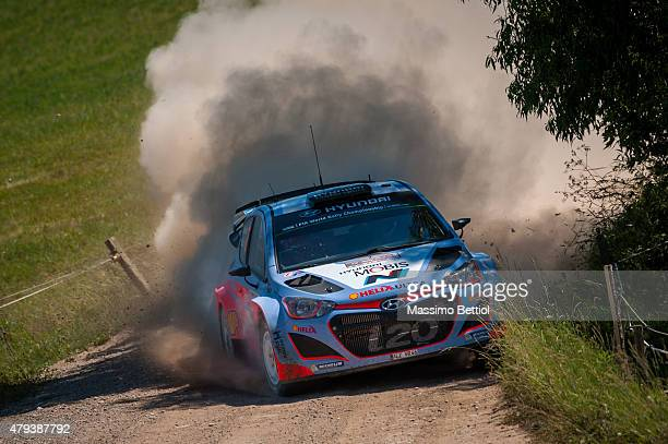 Thierry Neuville of Belgium and Nicolas Gilsoul of Belgium compete in their Hyundai Motorsport Hyundai i20 WRC during Day One of the WRC Poland on...