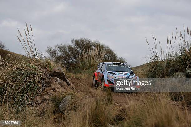 Thierry Neuville of Belgium and Nicolas Gilsoul of Belgium compete in their Hyundai Motorsport Hyundai I20 WRC during Day One of the WRC Argentina on...