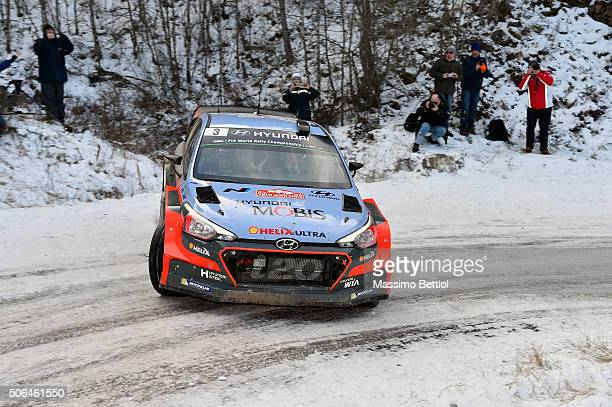 Thierry Neuville of Belgium and Nicolas Gilsoul of Belgium compete in their Hyundai Motorsport Hyundai i20 WRC during Day Three of the WRC Monte...