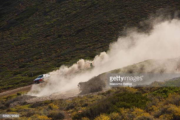 Thierry Neuville of Belgium and Nicolas Gilsoul of Belgium compete in their Hyundai Motorsport WRT Hyundai i20 WRC during Day Three of the WRC Italy...