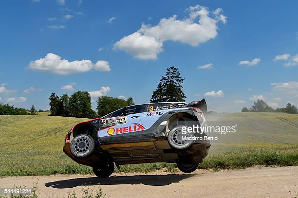 Thierry Neuville of Belgium and Nicolas Gilsoul of Belgium compete in their Hyundai Motorsport WRT Hyundai i20 WRC during Day Two of the WRC Poland...