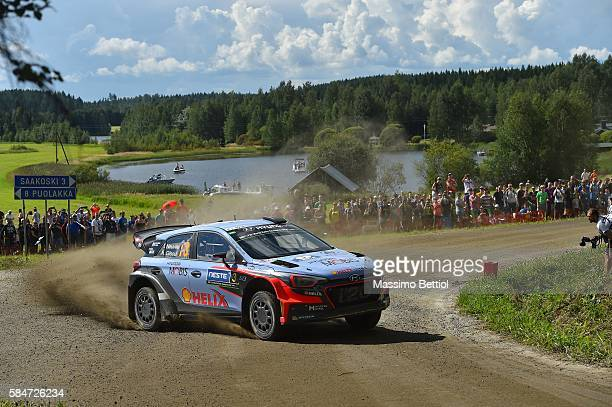 Thierry Neuville of Belgium and Nicolas Gilsoul of Belgium compete in their Hyundai Motorsport WRT Hyundai i20 WRC during Day Two of the WRC Finland...
