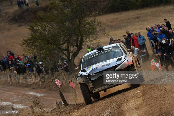 Thierry Neuville of Belgium and Nicolas Gilsoul of Belgium compete in their Hyundai Motorsport WRT Hyundai i20 WRC during Day One of the WRC Spain on...