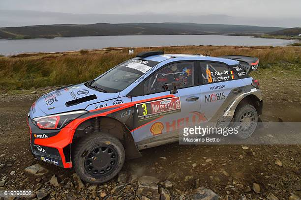 Thierry Neuville of Belgium and Nicolas Gilsoul of Belgium compete in their Hyundai Motorsport WRT Hyundai i20 WRC during Day Three of the WRC Great...