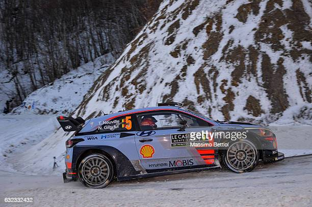 Thierry Neuville of Belgium and Nicolas Gilsoul of Belgium compete in their Hyundai Motorsport WRT Hyundai i20 coupè WRC during Day Three of the WRC...