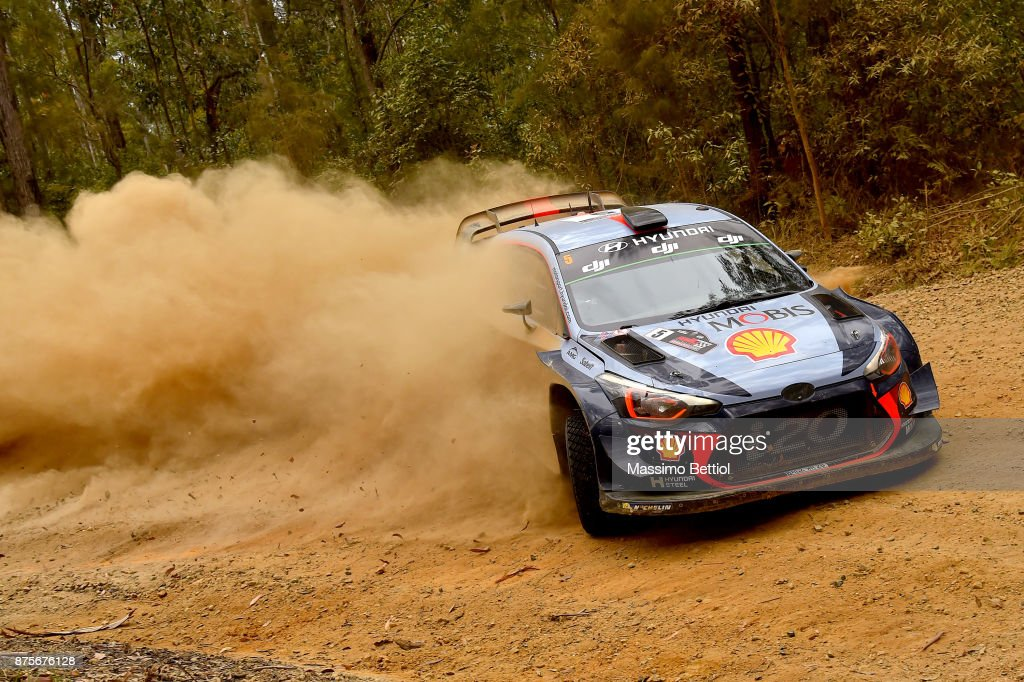 Thierry Neuville of Belgium and Nicolas Gilsoul of Belgium compete in their Hyundai Motorsport WRT Hyundai i20 coupe WRC during Day Two of the WRC Australia in special stage number 10 Newry on November 18, 2017 in Coffs Harbour, Australia.