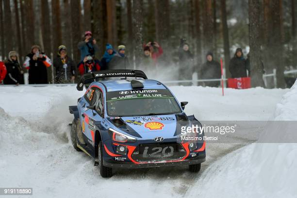 Thierry Neuville of Belgium and Nicolas Gilsoul of Belgium compete in their Hyundai Shell Mobis WRT Hyundai i20 Coupe WRC during Day One of the WRC...