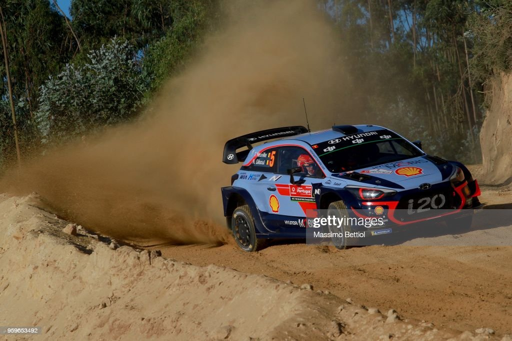 Thierry Neuville of Belgium and Nicolas Gilsoul of Belgium compete in their Hyundai Shell Mobis WRT Hyundai i20 Coupe WRC during Day One of the WRC Portugal on May 17, 2018 in Faro, Portugal.