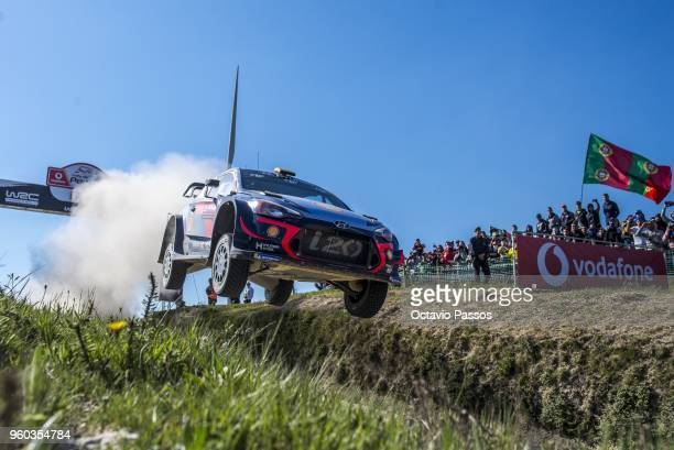 Thierry Neuville of Belgium and Nicolas Gilsoul of Belgium compete in their Hyundai Shell Mobis WRT Hyundai i20 Coupe WRC during the SS17 Fafe of the...