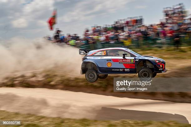 Thierry Neuville of Belgium and Nicolas Gilsoul of Belgium compete in their Hyundai Shell Mobis WRT Hyundai i20 Coupe WRC during day four of World...