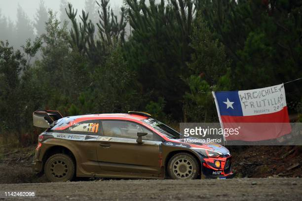 Thierry Neuville of Belgium and Nicolas Gilsoul of Belgium compete with their Hyundai Shell Mobis WRT Hyundai i20 Coupe WRC during the Shakedown of...