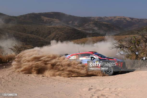 Thierry Neuville of Belgium and Nicolas Gilsoul of Belgium compete with their Hyundai Shell Mobis WRT Hyundai i20 Coupe WRC during FIA World Rally...