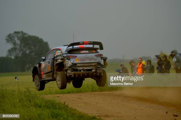 Thierry Neuville of Belgium and Nicolas Gilsoul of Belgium compete intheir Hyundai Motorsport WRT Hyundai i20 WRC during Day Two of the WRC Poland on...